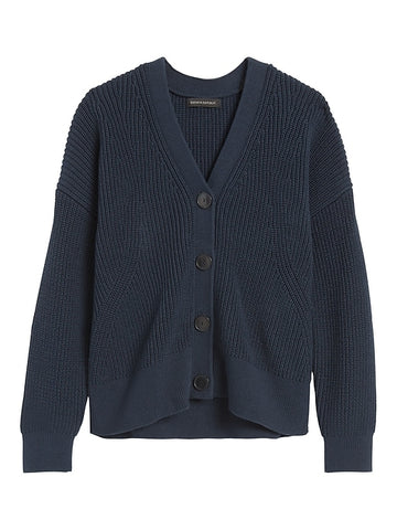 Chunky Ribbed Cardigan Sweater in Navy