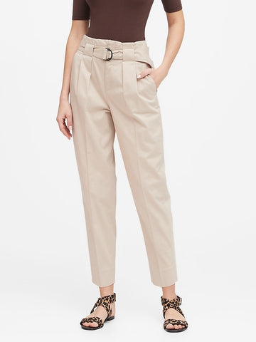 Petite High-Rise Tapered Cropped Pant in Stinson Sand Beige