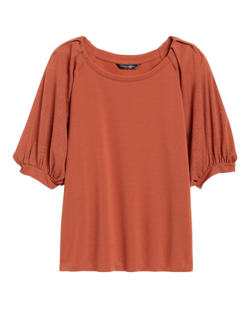 Sheer-Sleeve Top in Tuscan Sun
