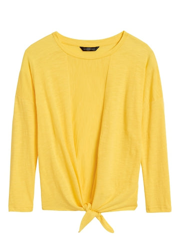 Cropped Tie-Front T-Shirt in Sunglow Yellow