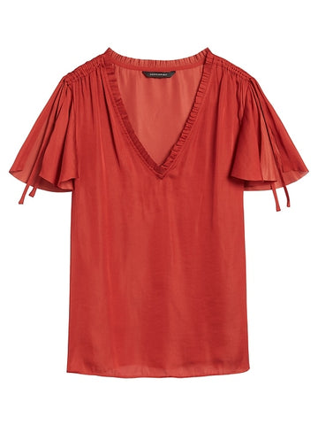 Soft Satin Flutter-Sleeve Top in Rustic Red