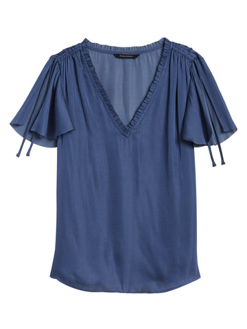 Soft Satin Flutter-Sleeve Top in Indigo Fog