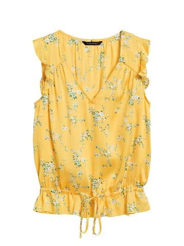 Soft Satin Ruffle Top in Yellow Floral