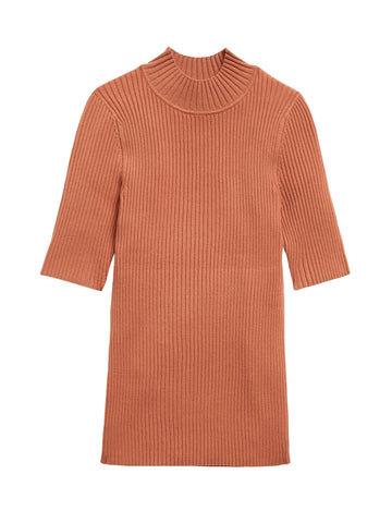 Ribbed Mock-Neck Sweater Top in Terracotta Pink