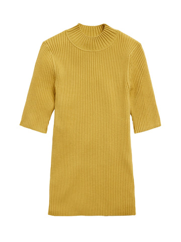 Ribbed Mock-Neck Sweater Top in Green Ochre