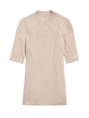 Ribbed Mock-Neck Sweater Top in Ecru White