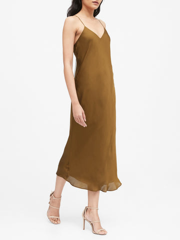 Satin Slip Dress in Cindered Olive Green