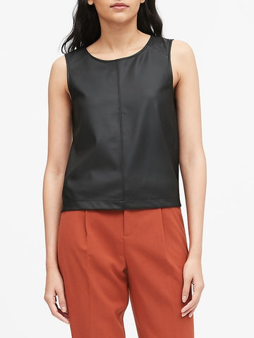 Vegan Leather Cropped Shell in Black