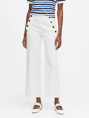 Petite Slim Wide-Leg Cropped Sailor Pant in White