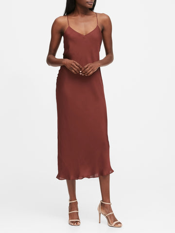 Satin Slip Dress in Toasted Caramel