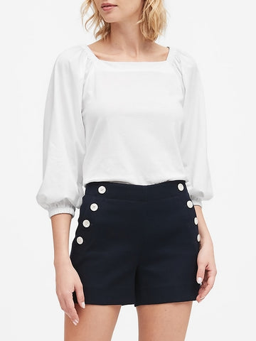 SUPIMA Cotton Peasant Top in White
