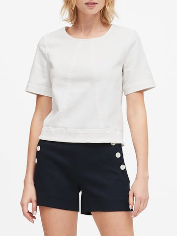 Denim Cropped Top in Ecru White