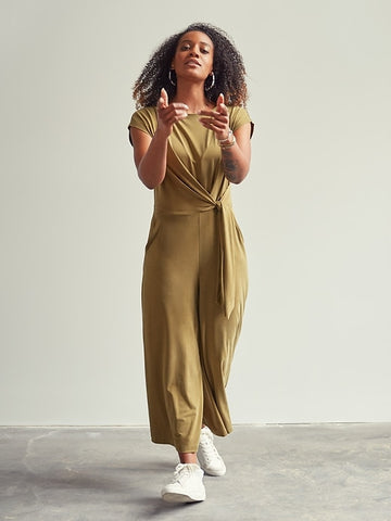 Sandwash Tie-Front Cropped Jumpsuit in Cindered Olive Green
