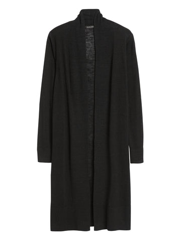 Petite Linen-Blend Duster Cardigan Sweater in Black