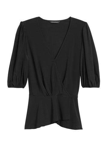 Puff-Sleeve Wrap-Effect Top in Black