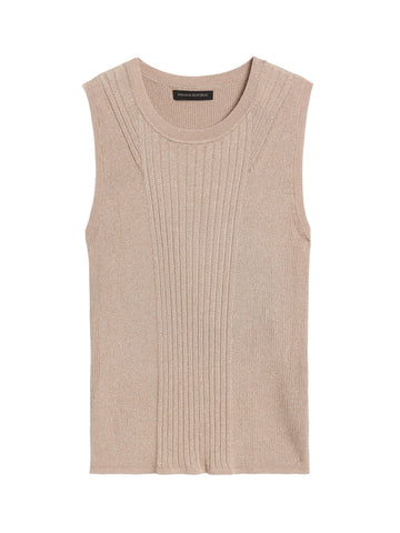 Petite Metallic Sweater Tank in Champagne Gold