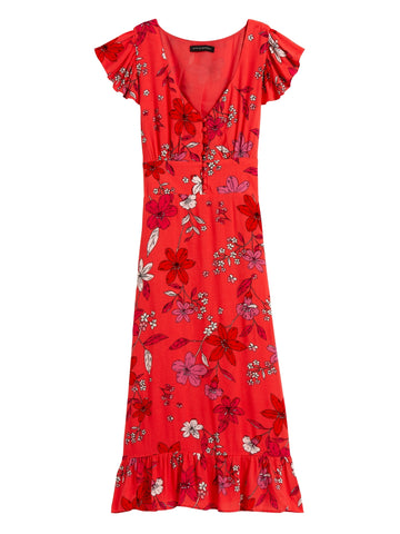 ECOVERO Button-Front Midi Dress in Red Floral