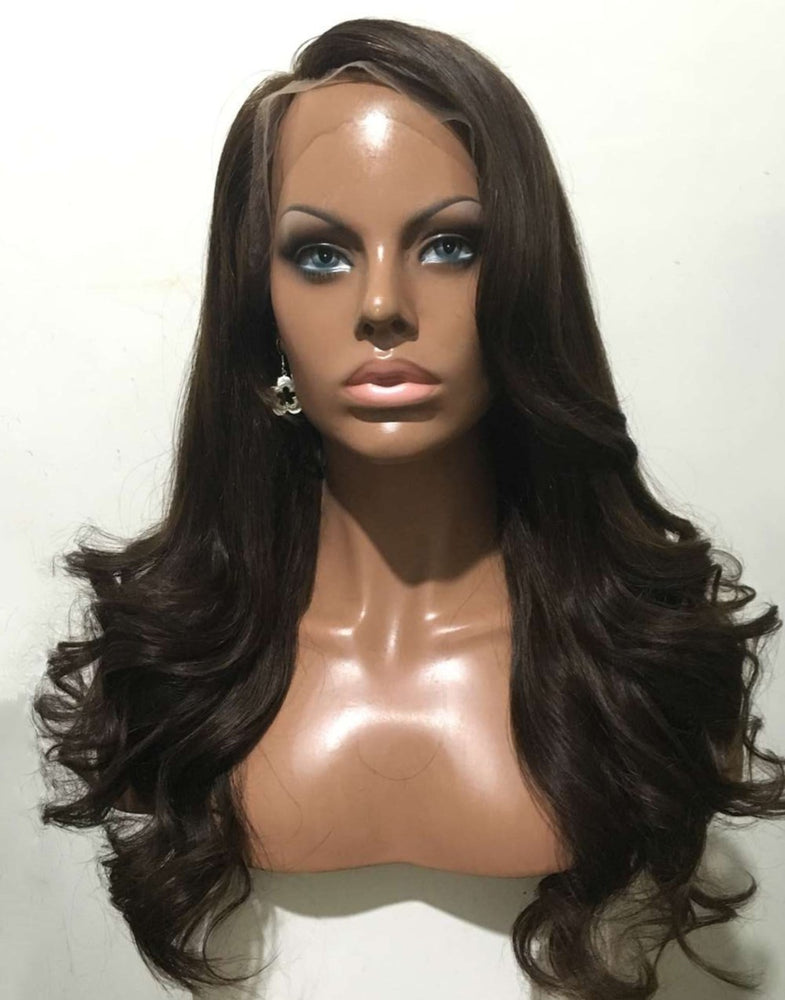 ADELA - LONG WAVY HAIR HUMAN HAIR GLUELESS LACE FRONT WIGS - NOV003