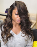 KASH - CHOCOLATE BROWN HIGHLIGHT WAVY LACE FRONT WIG - LFW049