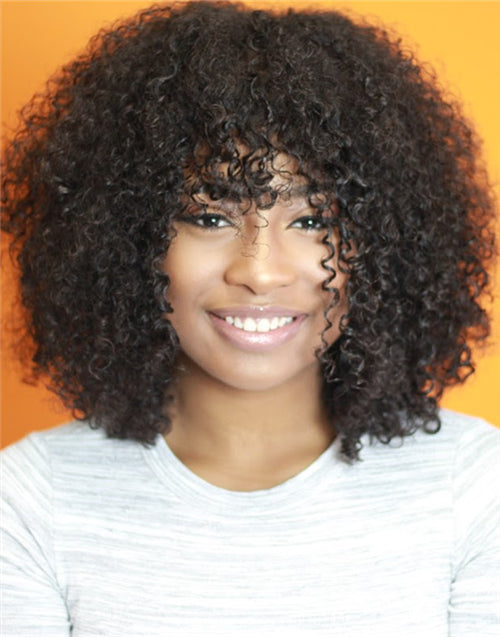 JAELAH – IMPROVED MALAYSIAN CURLY LACE FRONT WIG WITH BANGS - LFW012