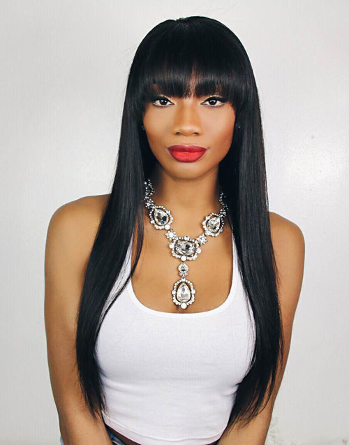 OLIVIA - MALAYSIAN HUMAN HAIR STRAIGHT WIG WITH BANGS- LFW018