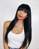 OLIVIA - MALAYSIAN HUMAN HAIR FRINGE STRAIGHT WIG WITH BANGS- LFW018