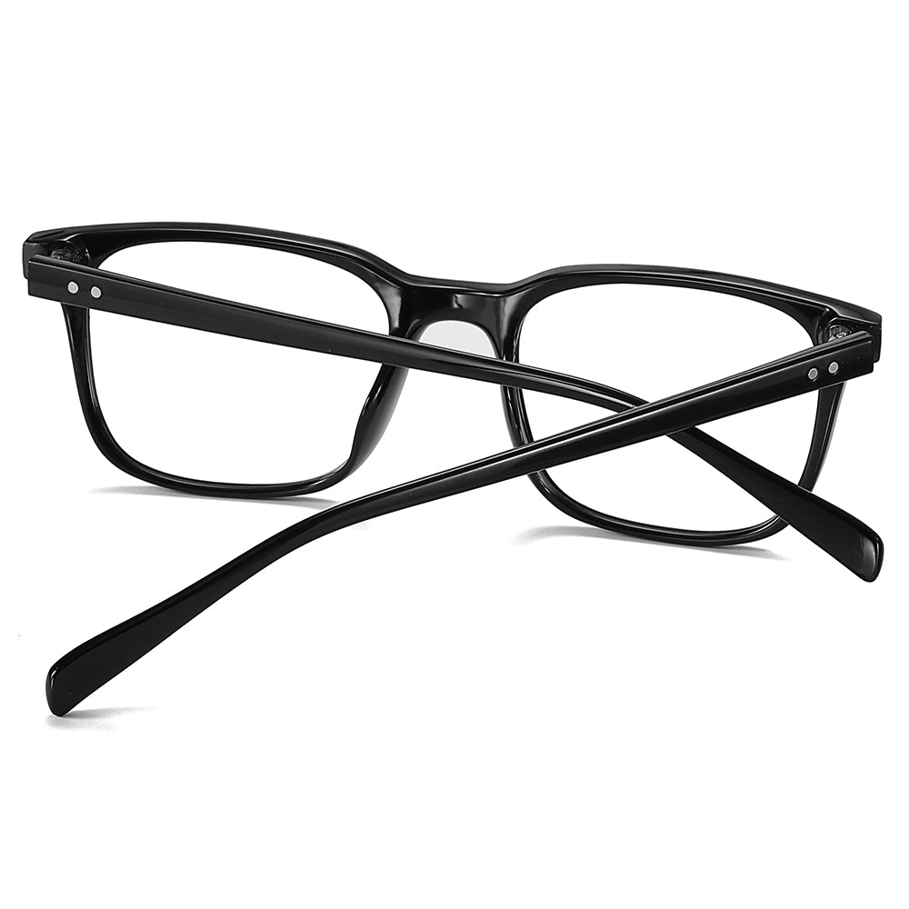 black frame eyeglasses, black temple arms, onepiece nose pads