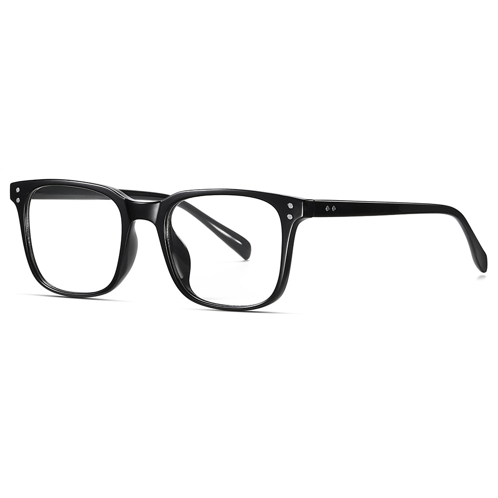 black frame eyeglasses with transition lenses in rectangle shape