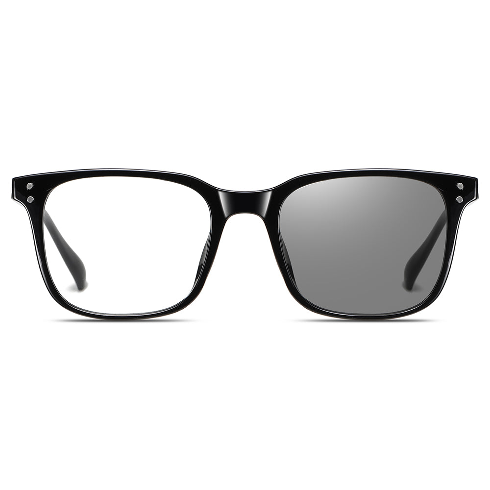 black frame photochromise eyeglasses in rectangular shape