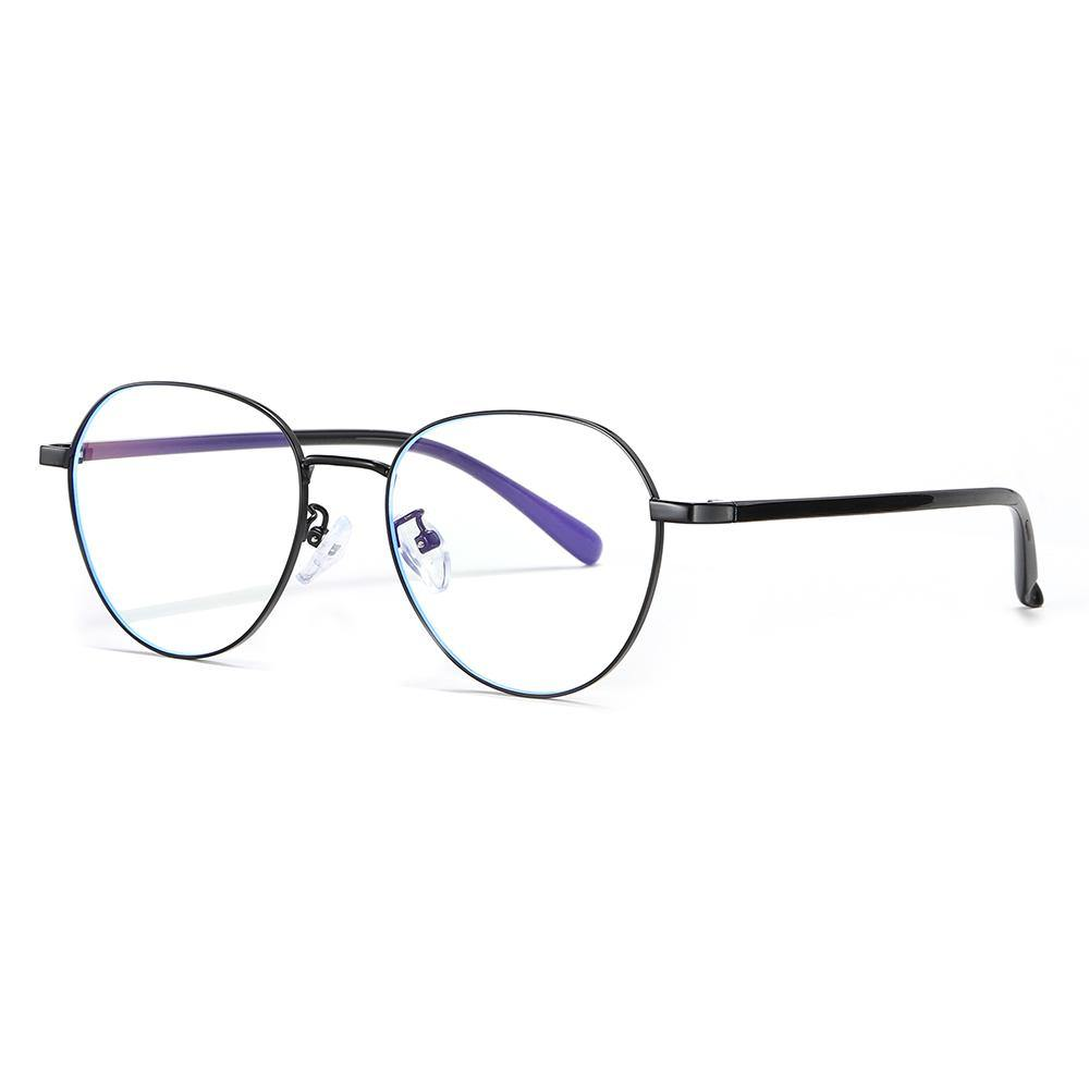 Round eyeglasses with black frames and temple arms