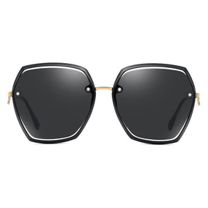 full black hexagon sunglasses with gold nose bridge