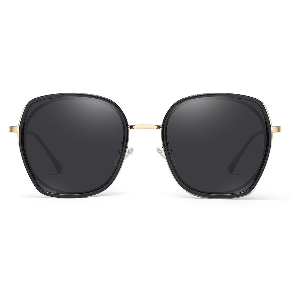 sunglasses in big square shape with gold frame