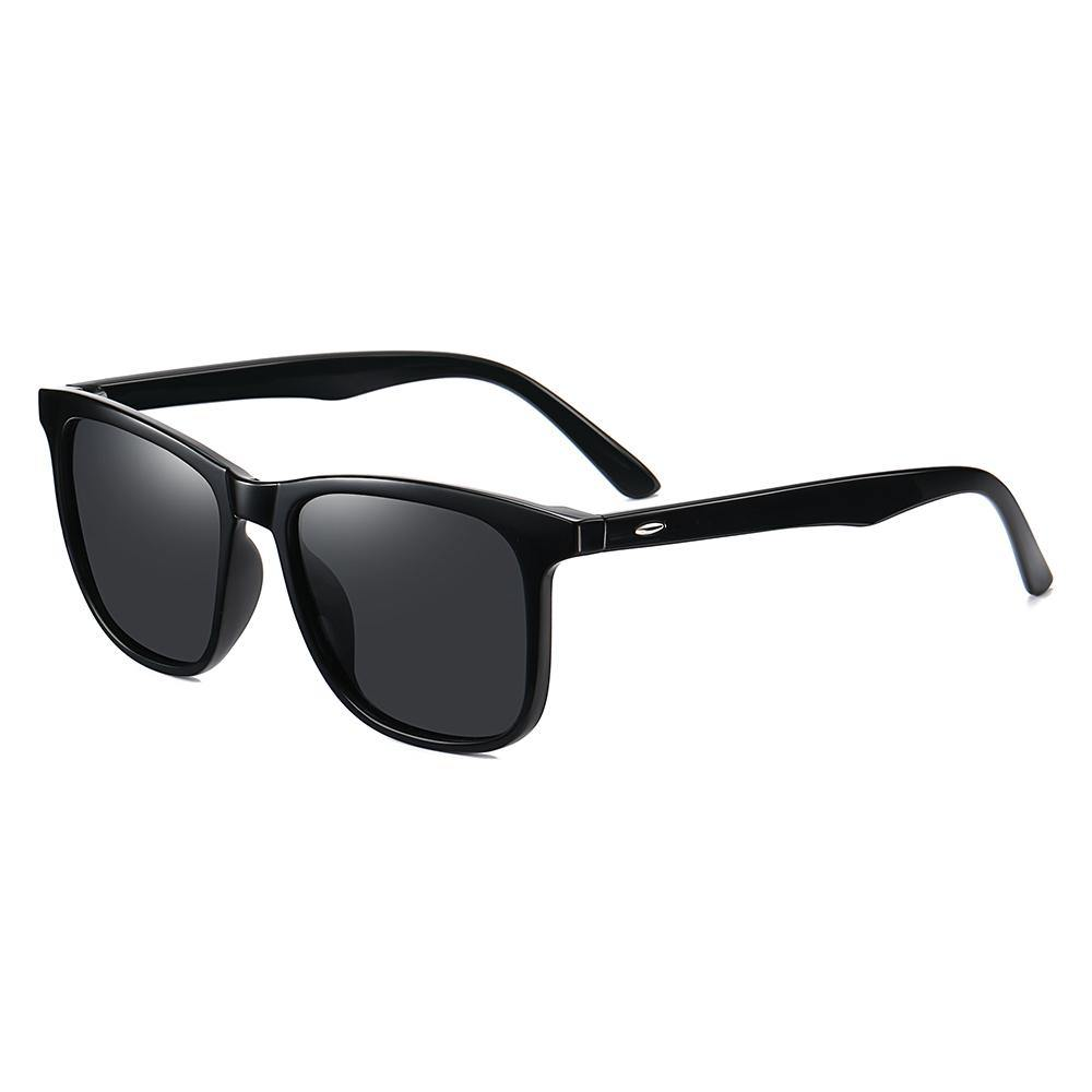 Square sunglasses with black frames and temple arms