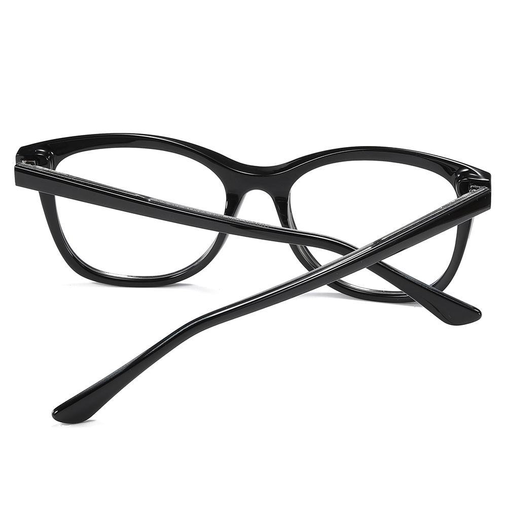 Black temple arms of the square eyeglasses