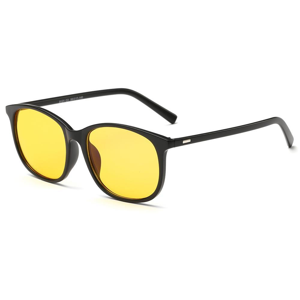 blue filter in rectangle shape, yellow lens for eye protection, black tempel arms