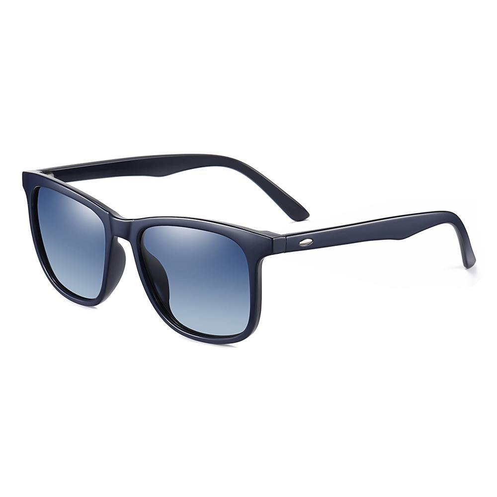 Dark blue temple arms and frames for this square sunglasses