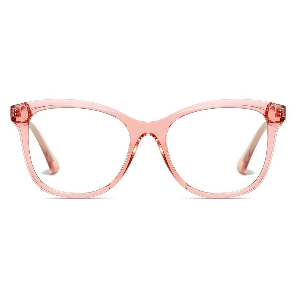 clear pink glasses in square shaped frame