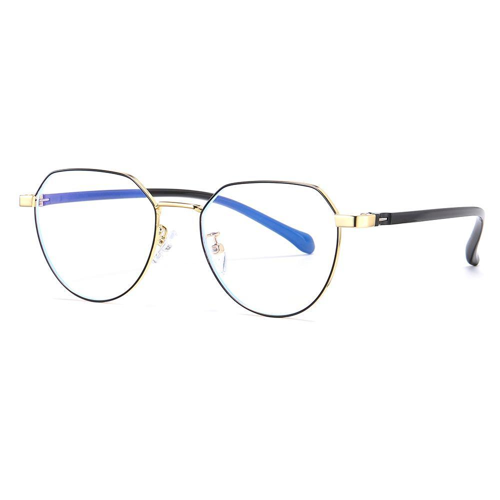 Round eyeglasses rimmed with gold and black temples