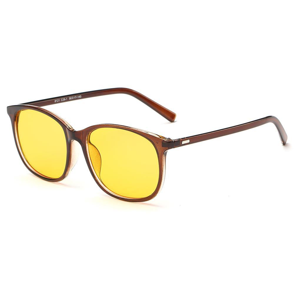 rectangle brown frames shape, yellow lens, brown temple arms