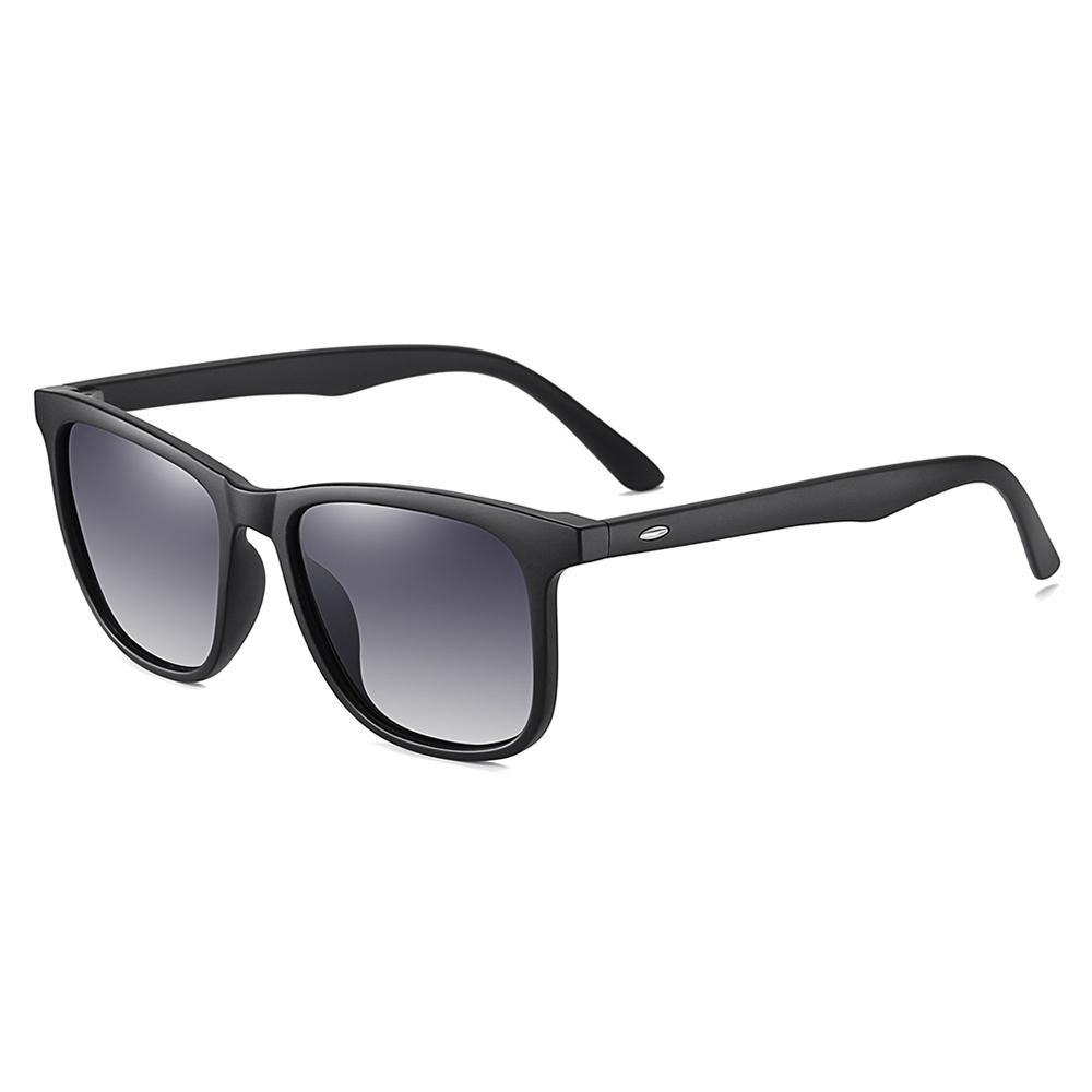Gray gradient sunglasses with blue lens and black temple arms