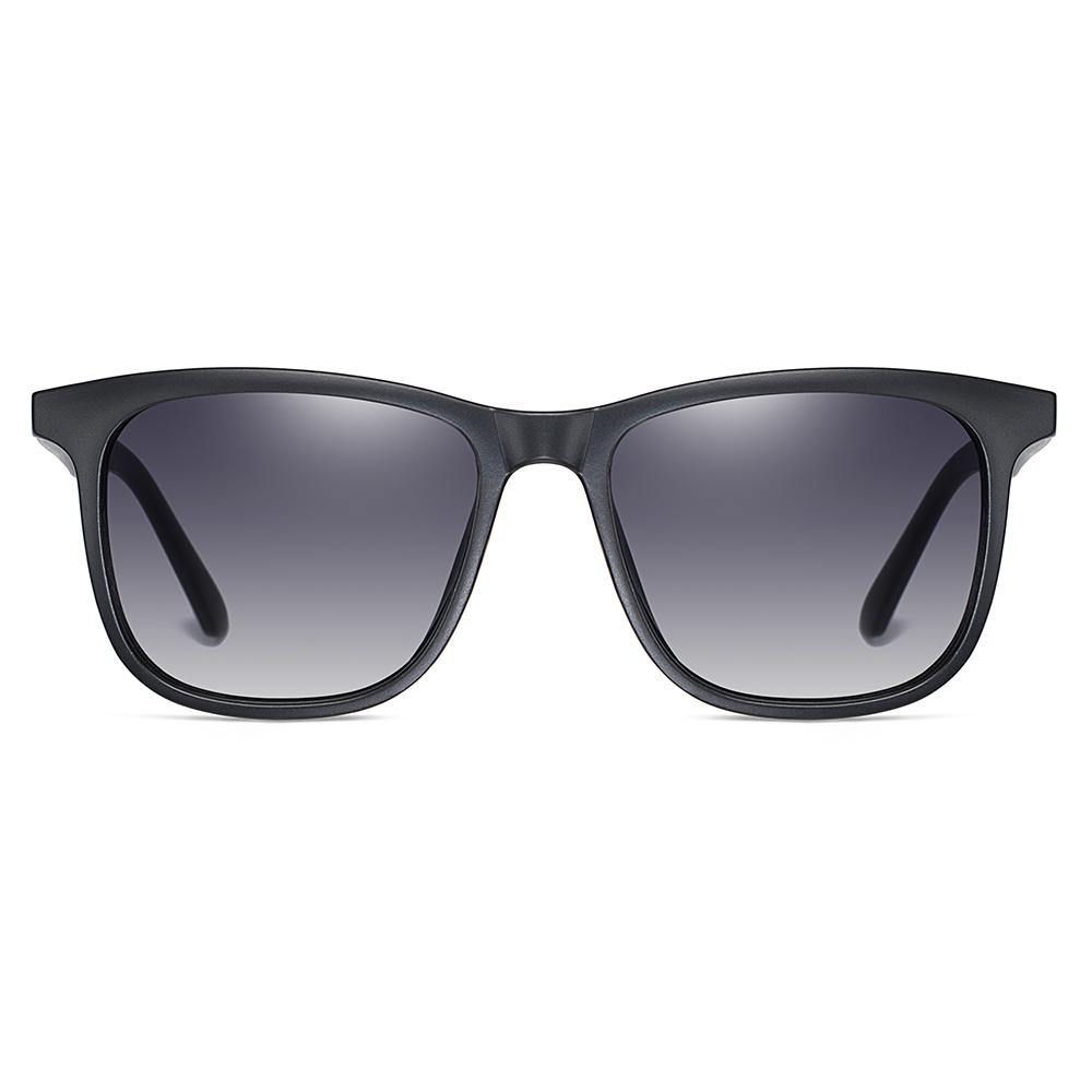 Grey gradient square sunglasses with black frames