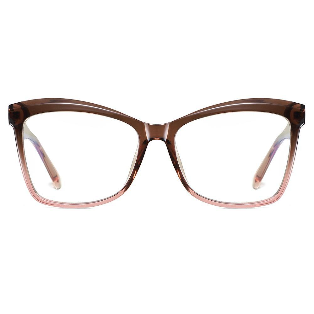 hipster square eyeglasses with frames half brown half pink