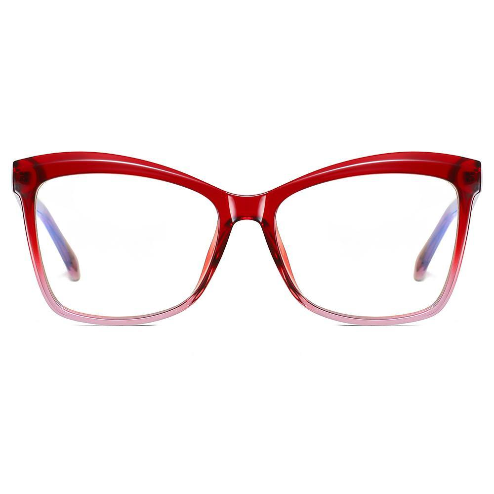 hipster square eyeglasses with half red half pin frame color