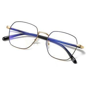 hipster square shaped eyeglasses, black frame and temple arms, gold bridge