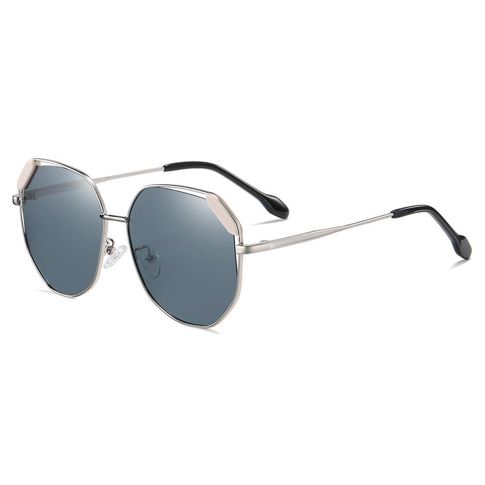 light blue lens in slight aviator shape with silver temple arms