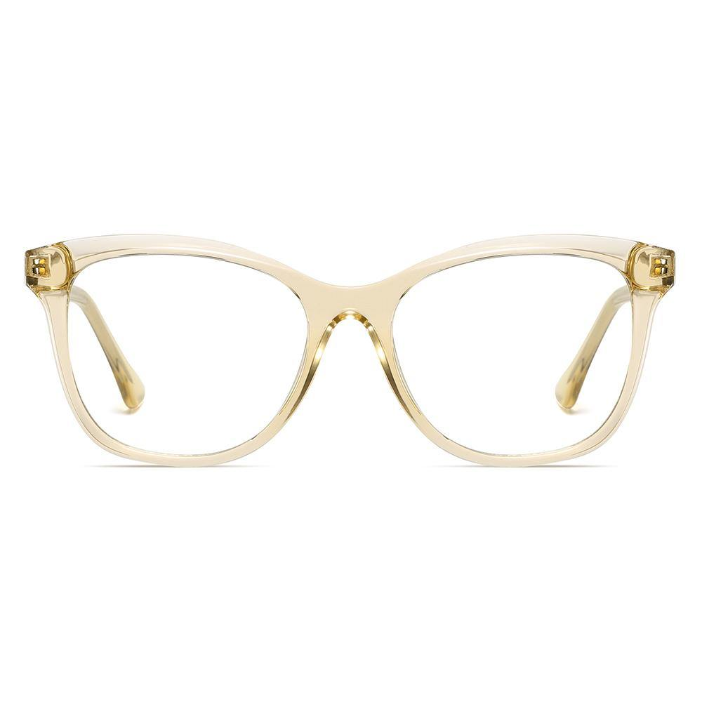 Light brown glasses (champagne color) in square frame shape