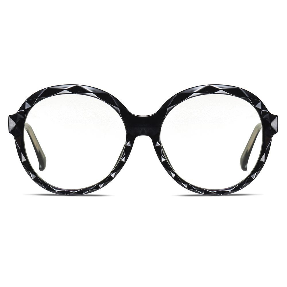 oversized round frames in bright black