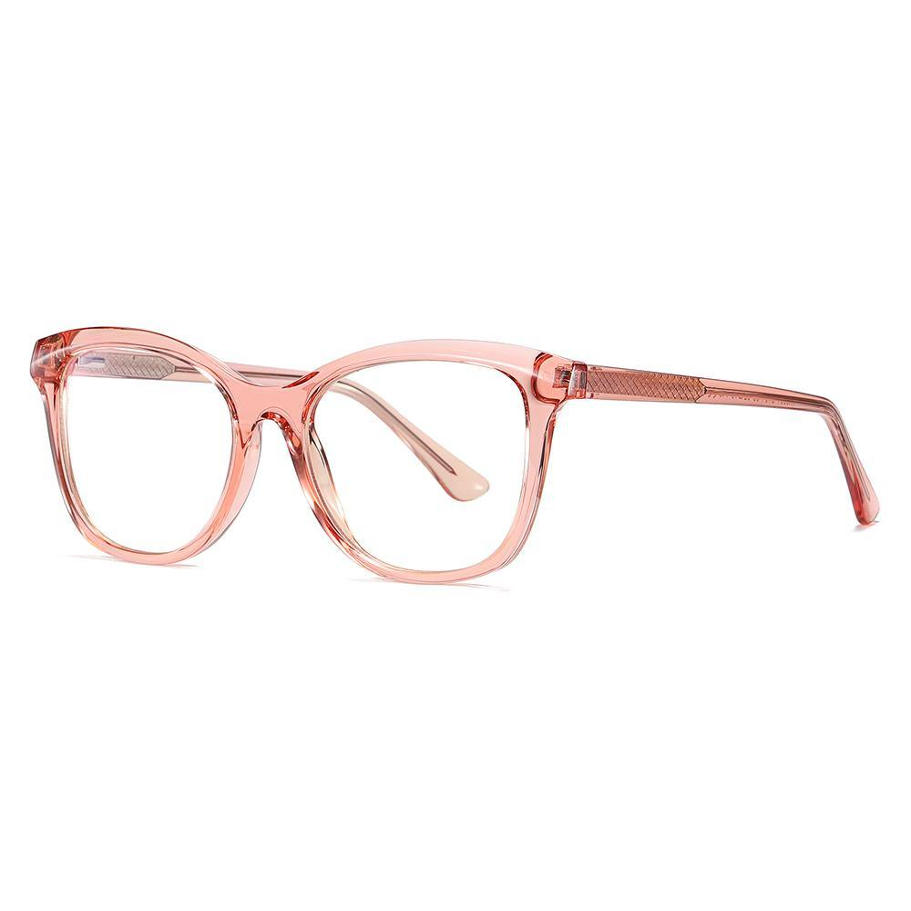 Pink frames and temple arms, clear eyeglasses