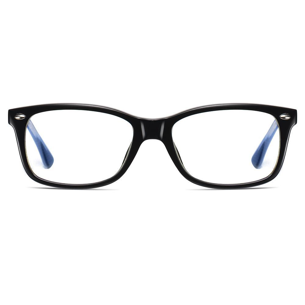 rectangle eyeglasses shape, black frame colors for men women, one piece nose pads