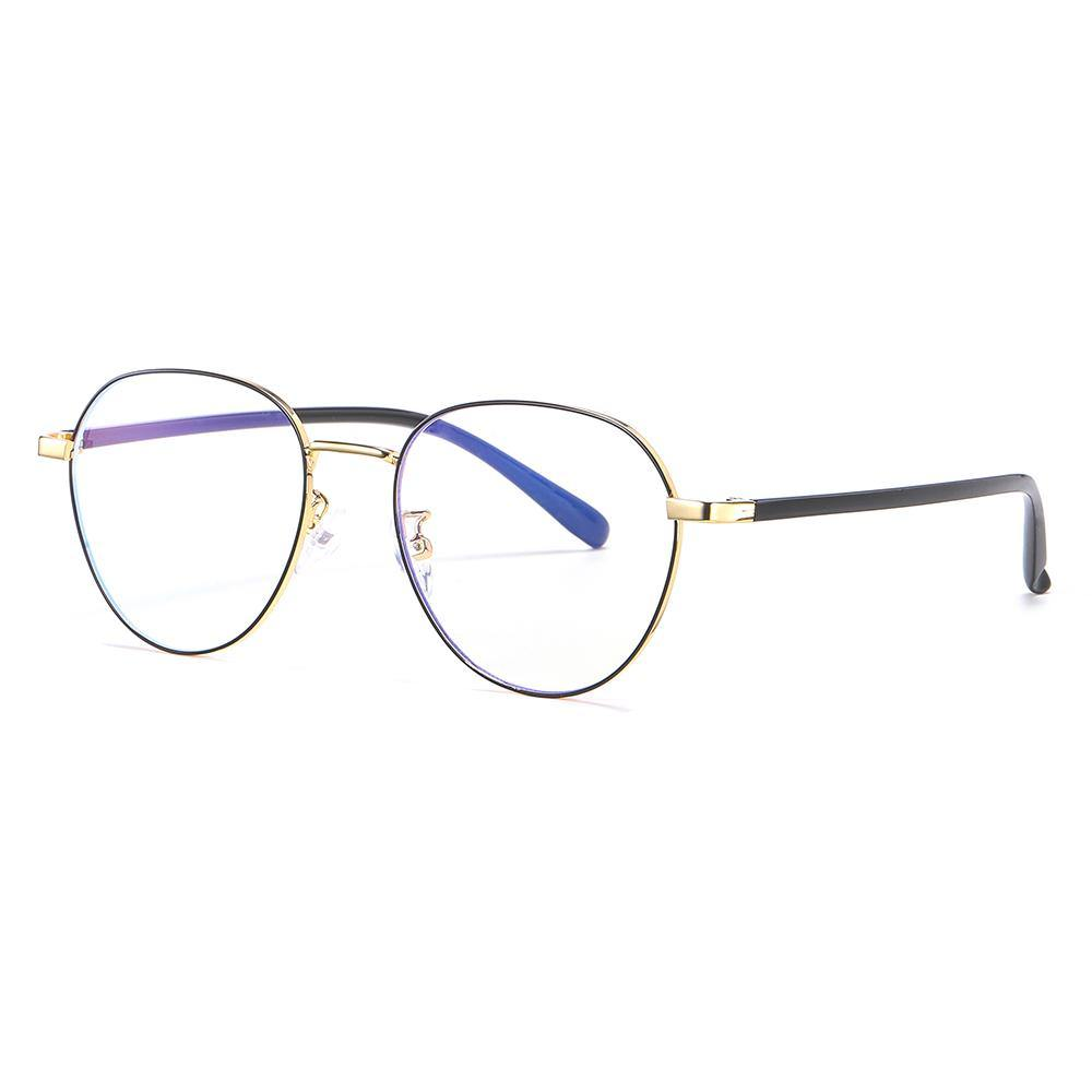 round eyeglasses with gold trimmed for women with black temple arms
